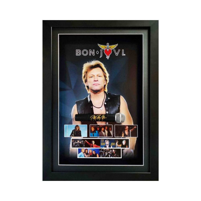 Jon Bon Jovi Personally Signed Deluxe Microphone Display, Framed