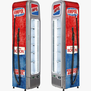 Bar Fridge - Fuel Pump Skinny Glass Door Upright Cool Retro Bar Fridge
