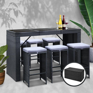 Furniture > Outdoor - Gardeon 7 Piece Outdoor Dining Table Set - Black
