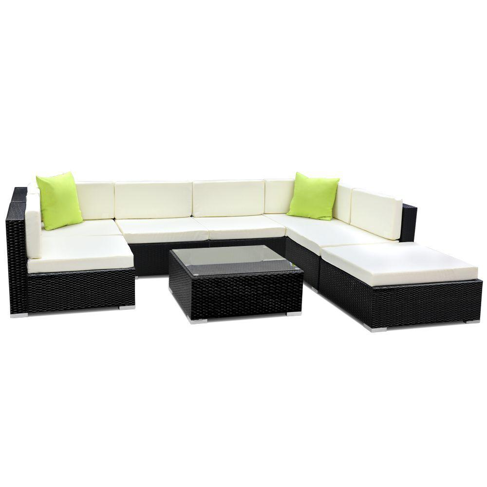 Furniture > Outdoor - Gardeon 8PC Sofa Set With Storage Cover Outdoor Furniture Wicker