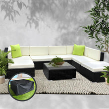 Load image into Gallery viewer, Furniture > Outdoor - Gardeon 8PC Sofa Set With Storage Cover Outdoor Furniture Wicker