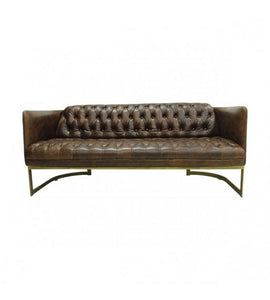SOFAS & LOUNGE SUITES - Gatsby Vintage Brown Leather And Iron Lounge – 3 Seat