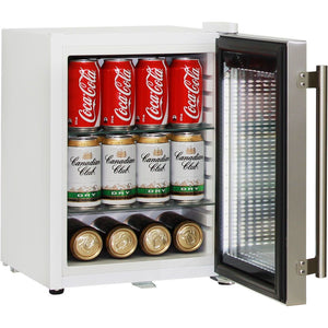 Bar Fridge - Cosmetics / Drinks White Mini Glass Door Fridge With Stainless Steel Door 23Litre Schmick Brand