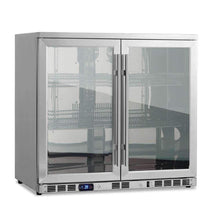 Load image into Gallery viewer, Bar Fridge - Heating Glass 2-Door Full Stainless Under Bench Beverage Fridge, Indoor Or Outdoor