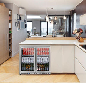 Bar Fridge - Heating Glass 2-Door Full Stainless Under Bench Beverage Fridge, Indoor Or Outdoor
