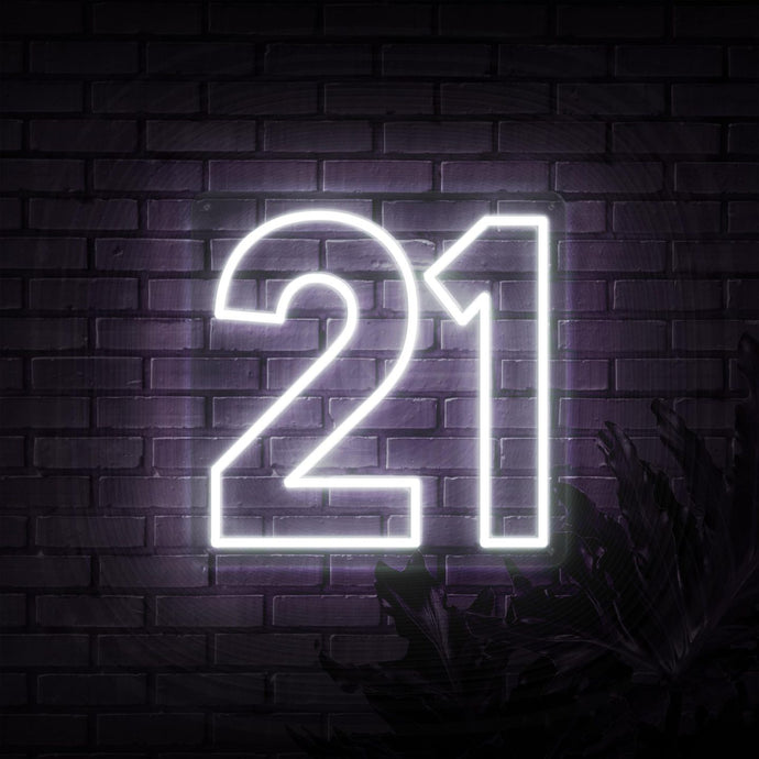 Neon Sign - NUMBER 21 NEON SIGN (DELIVERED IN 3-5WKS)