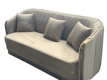 Load image into Gallery viewer, SOFAS & LOUNGE SUITES - Portico Champagne Velvet Lounge