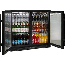 Load image into Gallery viewer, Bar Fridge - Commercial Under Bench Black Glass Double Door Bar Fridge Energy Efficient