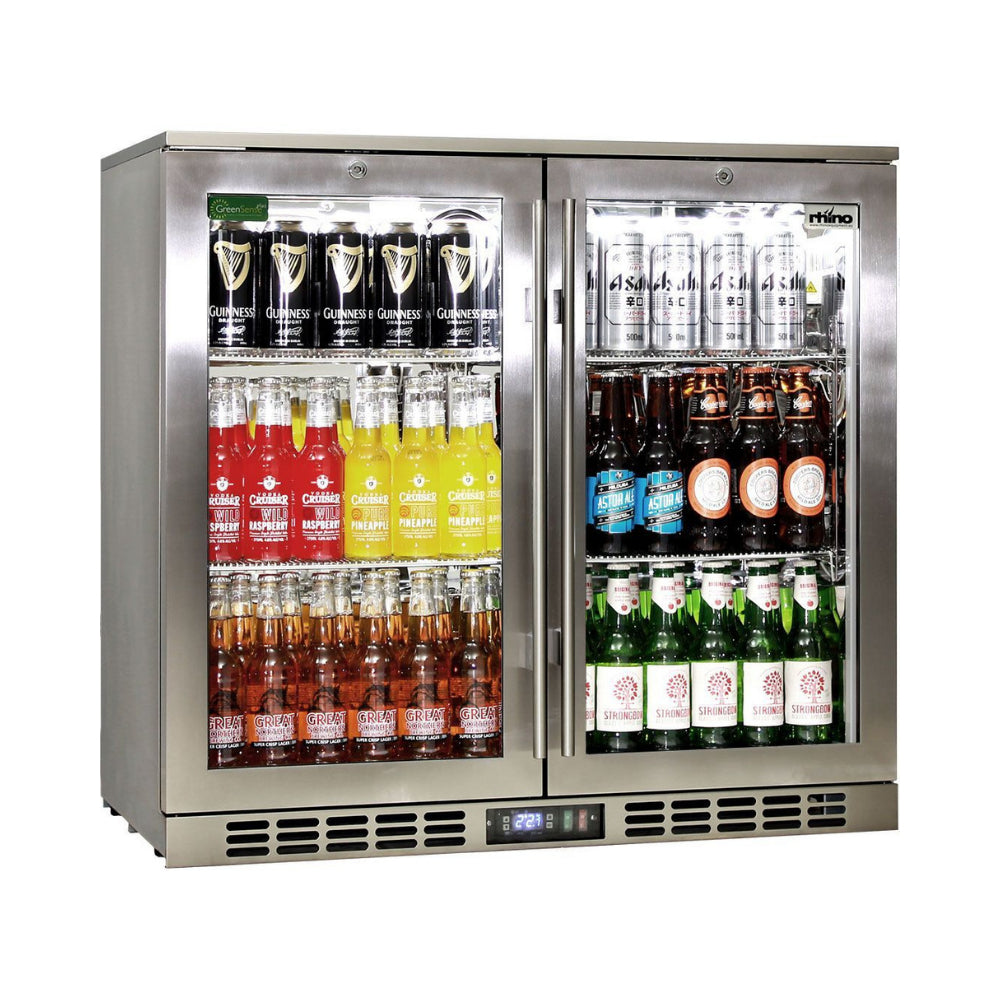 Bar Fridge - Rhino Stainless Steel 2 Door Heated Glass Bar Fridge (PRE-ORDER FOR EARLY NOV)