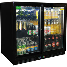 Load image into Gallery viewer, Bar Fridge - Rhino Black Glass Sliding Under Bench 2 Door Bar Fridge Energy Efficient LG Compressor