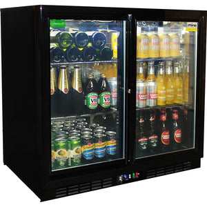 Bar Fridge - Rhino Black Glass Sliding Under Bench 2 Door Bar Fridge Energy Efficient LG Compressor