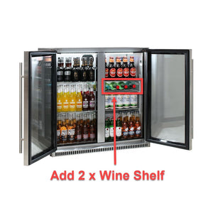 Bar Fridge - Schmick Stainless Bar Fridge 2 Door With Heated Glass And Triple Glazing Model SK190-SS 9 (BACK-ORDER FOR MID OCT)