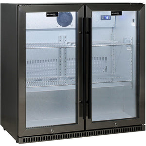 Bar Fridge - Schmick Black Stainless Steel Bar Fridge Tropical Rated 2 Door With Heated Glass And Triple Glazing Model SK190-BS