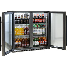 Load image into Gallery viewer, Bar Fridge - Schmick Black Stainless Steel Bar Fridge Tropical Rated 2 Door With Heated Glass And Triple Glazing Model SK190-BS
