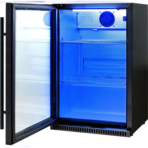 Bar Fridge - Schmick Black Bar Fridge Tropical Rated With Heated Glass And Triple Glazing 1 Door Model SK118L-B