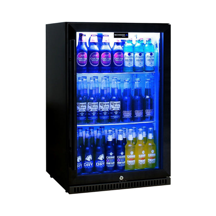 Bar Fridge - Schmick Black Bar Fridge Tropical Rated With Heated Glass And Triple Glazing 1 Door Model SK118R-B
