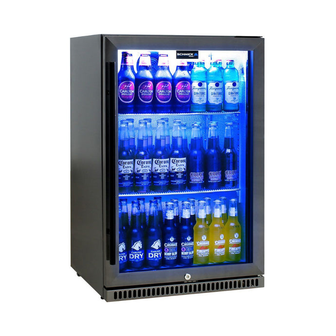 Bar Fridge - Schmick Black Stainless Steel Bar Fridge Tropical Rated With Heated Glass And Triple Glazing 1 Door Model SK118R-BS