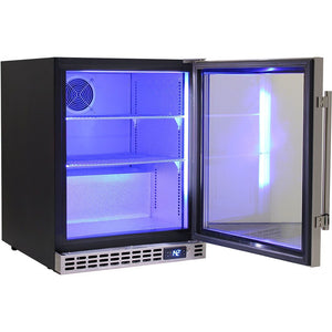 Bar Fridge - Schmick Quiet Running Front Venting Under Bench Glass Door Bar Fridge Model SK86-SS