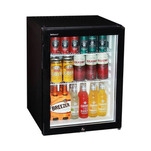 Bar Fridge - Silent 60 Litre Motel Mini Bar Fridge With Triple Glass Door And Lock