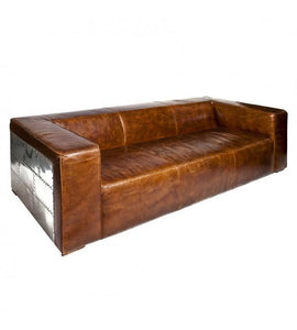 SOFAS & LOUNGE SUITES - Voyager Aluminium And Brown Leather Lounge