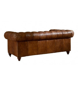 SOFAS & LOUNGE SUITES - Winston Three Seat Classic Vintage Leather Chesterfield Lounge – Camel Brown