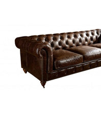 Load image into Gallery viewer, SOFAS & LOUNGE SUITES - Winston Three Seat Classic Vintage Leather Chesterfield Lounge – Cigar Brown