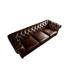 SOFAS & LOUNGE SUITES - Winston Three Seat Classic Vintage Leather Chesterfield Lounge – Cigar Brown