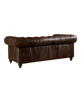 SOFAS & LOUNGE SUITES - Winston Two Seat Classic Vintage Leather Chesterfield Lounge – Cigar Brown