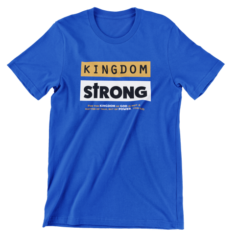 SaySo Gifts and Apparel Kingdom Strong Short Sleeve T Shirt in Blue, Christian T Shirts for Men, Christian T Shirts for Women