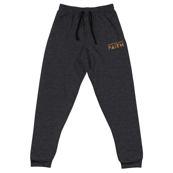 SaySo Gifts and Apparel Mustard Seed Faith Joggers in Black Heather, Christian Apparel, Christian Streetwear Brand