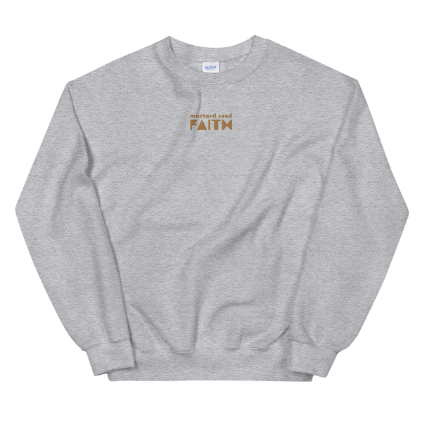 SaySo Gifts and Apparel Mustard Seed Faith Sweatshirt in Athletic Heather, Christian Sweatshirt for Men and Women, Christian Streetwear Brand