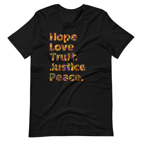SaySo Gifts and Apparel Hope Love Truth Justice Peace T-Shirt in Black, Men's and Women's Christian Inspirational T-Shirt, Christian Streetwear Brand