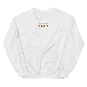 SaySo Gifts and Apparel Mustard Seed Faith Sweatshirt in White, Christian Sweatshirt for Men and Women, Christian Streetwear Brand