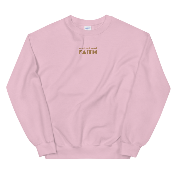 SaySo Gifts and Apparel Mustard Seed Faith Sweatshirt in Pink, Christian Sweatshirt for Men and Women, Christian Streetwear Brand