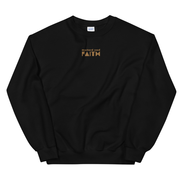SaySo Gifts and Apparel Mustard Seed Faith Sweatshirt in Black, Christian Sweatshirt for Men and Women, Christian Streetwear Brand