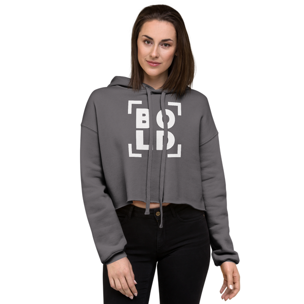 SaySo Gifts and Apparel BOLD Women's Crop Top Hoodie in Gray, Christian Streetwear Brand