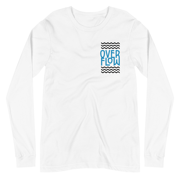 SaySo Gifts and Apparel Overflow Long Sleeve T-Shirt in White, Christian T-Shirts for Men and Women, Inspirational T-Shirts, Christian Streetwear Brand