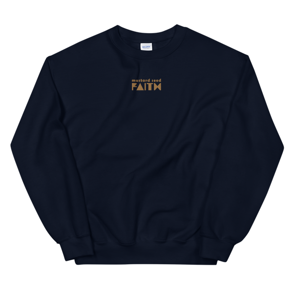 SaySo Gifts and Apparel Mustard Seed Faith Sweatshirt in Navy Blue, Christian Sweatshirt for Men and Women, Christian Streetwear Brand
