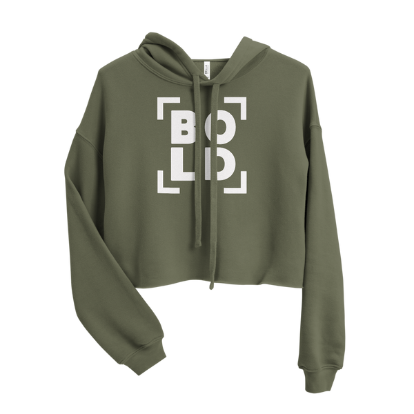 SaySo Gifts and Apparel BOLD Women's Crop Top Hoodie in Military Green, Christian Streetwear Brand