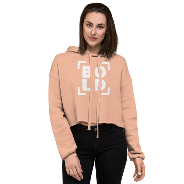 SaySo Gifts and Apparel BOLD Women's Crop Top Hoodie in Peach, Christian Streetwear Brand