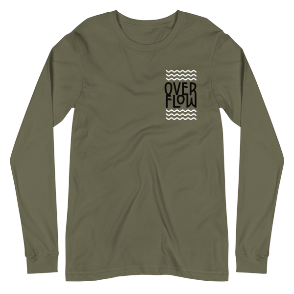 SaySo Gifts and Apparel Overflow Long Sleeve T-Shirt in Military Green, Christian T-Shirts for Men and Women, Inspirational T-Shirts, Christian Streetwear Brand