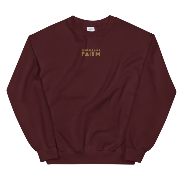 SaySo Gifts and Apparel Mustard Seed Faith Sweatshirt in Maroon, Christian Sweatshirt for Men and Women, Christian Streetwear Brand