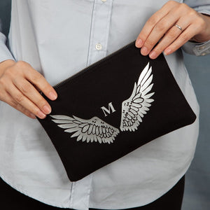 Personalised Angel Wing Initial Cosmetic Or Wash Bag