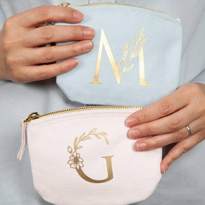 Gold Floral Initial Purse