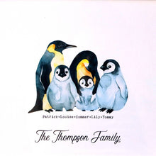 Load image into Gallery viewer, Personalised Penguin Family Print