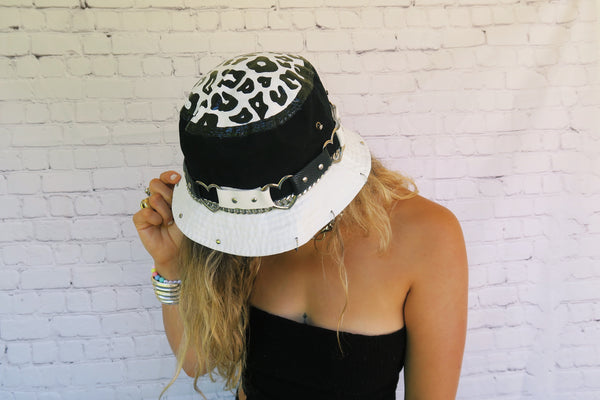 Hand Painted Monochrome Cheetah Bucket