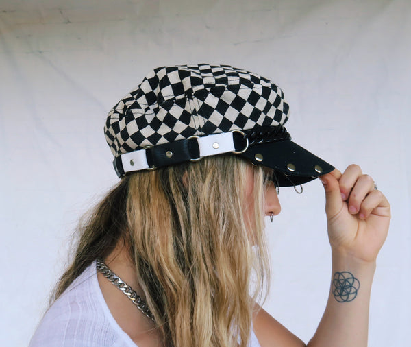 Leather Checkered Fisherman Cap