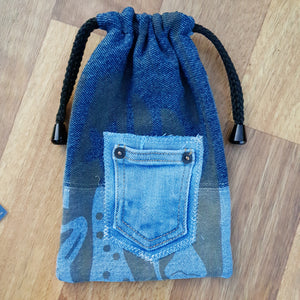 Muse Bags. Made from our own RePurposed Denim Fabric and lined with high quality cotton featuring our folksy screen printing.  These groovy bags will last you for years.   18cm X 21cm approx
