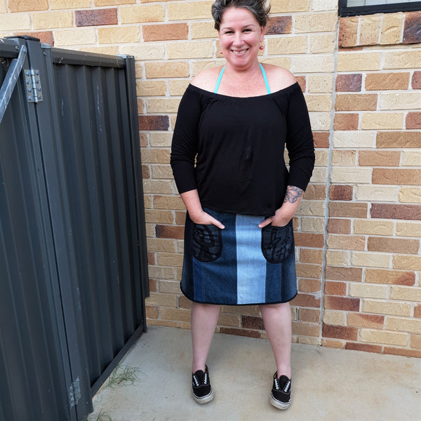 RePurposed Denim Skirt, Above Knee Length, Upcyled Denim, Small, DatedDenim, d8 denim
