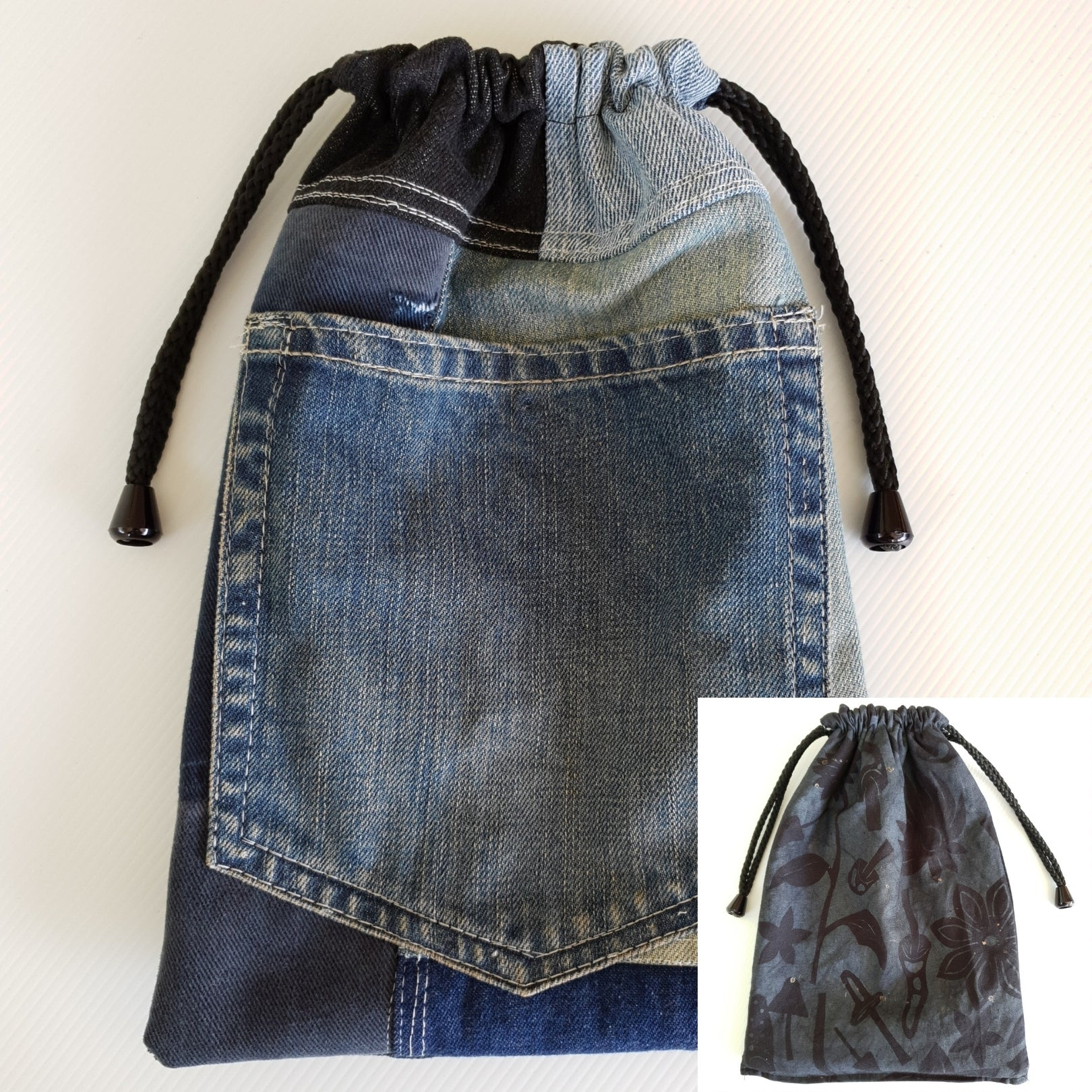MAGIC Bag - Indigo Hue Mushroom Lining - Corduroy feature Denim Outer